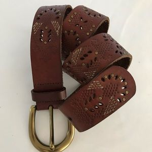 Vintage Fossil leather belt embellished brown S
